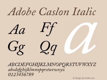 Adobe Caslon Italic Version 001.002 Font Sample