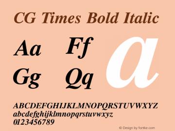 CG Times Bold Italic Version 1.02a Font Sample