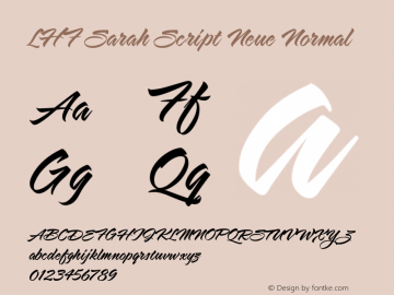 LHF Sarah Script Neue Normal Version 001.001 Font Sample