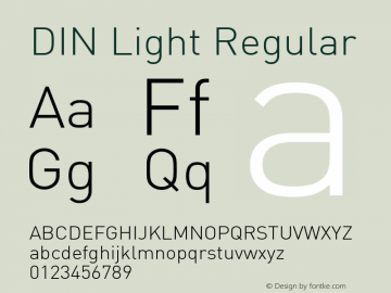 DIN Light Regular Unknown Font Sample