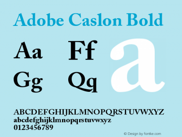 Adobe Caslon Bold Version 001.002 Font Sample