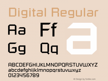 Digital Regular Font Version 2.6; Converter Version 1.10 Font Sample
