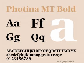 Photina MT Bold Version 1.00 Font Sample