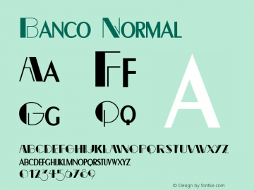 Banco Normal Altsys Fontographer 4.1 12/22/94 Font Sample