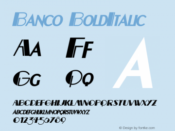 Banco BoldItalic Altsys Fontographer 4.1 12/22/94 Font Sample
