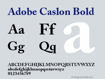 Adobe Caslon Bold Version 001.003 Font Sample