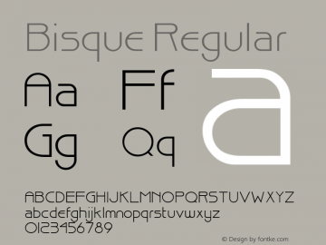 Bisque Regular Altsys Fontographer 3.5  11/23/92 Font Sample