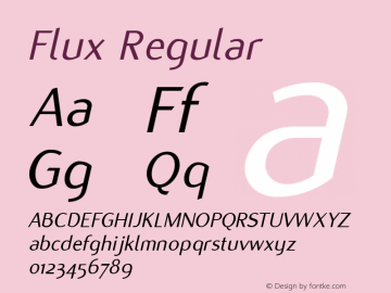 Flux Regular Version 1.00 Font Sample