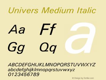 Univers Medium Italic Version 1.3 (Hewlett-Packard)图片样张