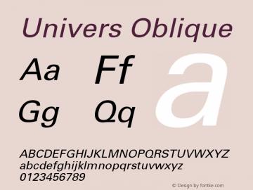 Univers Oblique Macromedia Fontographer 4.1 9/19/98 Font Sample