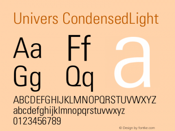 Univers CondensedLight Version 001.001 Font Sample