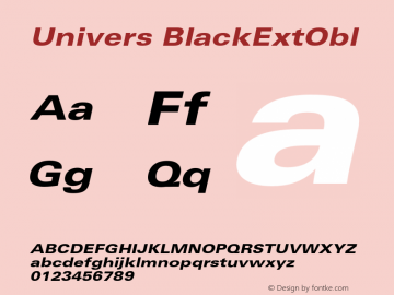 Univers BlackExtObl Version 001.001 Font Sample