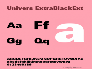 Univers ExtraBlackExt Version 001.001 Font Sample