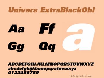 Univers ExtraBlackObl Version 001.000 Font Sample