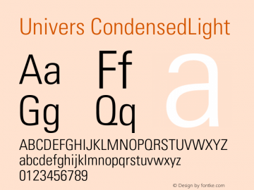 Univers CondensedLight Version 001.002 Font Sample