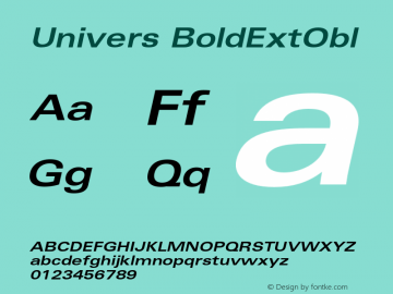 Univers BoldExtObl Version 001.001 Font Sample