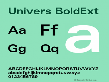 Univers BoldExt Version 001.001 Font Sample