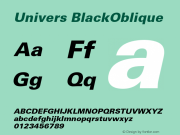 Univers BlackOblique Version 001.004 Font Sample