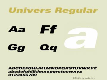 Univers Regular Version 1.0 Font Sample