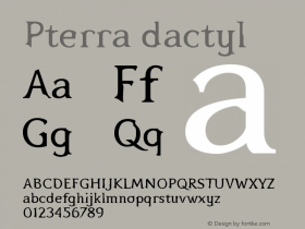 Pterra dactyl Version 001.000 Font Sample
