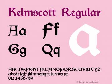 Kelmscott Regular Altsys Fontographer 3.5  12/3/92 Font Sample