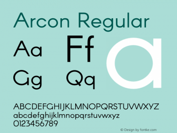 Arcon Regular Version 1.120;PS 001.120;hotconv 1.0.70;makeotf.lib2.5.58329 DEVELOPMENT Font Sample