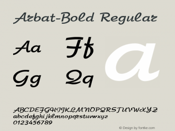Arbat-Bold Regular Converted from c:\windows\russ_fon\7ARBAT03.TF1 by ALLTYPE Font Sample