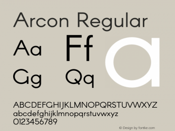 Arcon Regular Version 1.131;PS 001.131;hotconv 1.0.70;makeotf.lib2.5.58329 DEVELOPMENT Font Sample