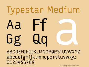 Typestar Medium Version 001.000 Font Sample
