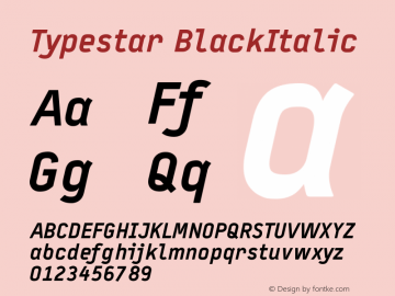 Typestar BlackItalic Version 001.000 Font Sample