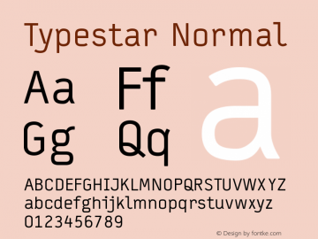 Typestar Normal Version 001.000 Font Sample