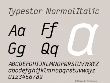 Typestar NormalItalic Version 001.000 Font Sample