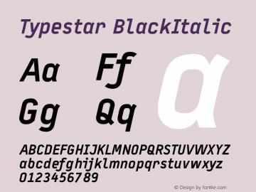 Typestar BlackItalic Version 001.000 Font Sample