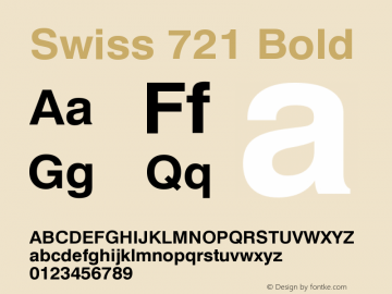 Swiss 721 Bold Version 003.001 Font Sample