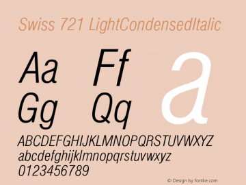 Swiss 721 LightCondensedItalic Version 003.001 Font Sample