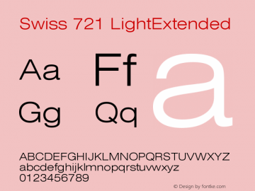 Swiss 721 LightExtended Version 003.001 Font Sample