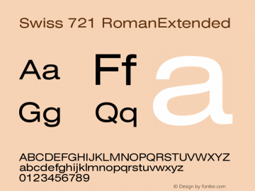 Swiss 721 RomanExtended Version 003.001 Font Sample