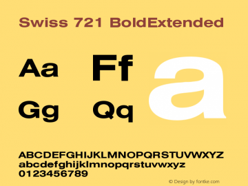 Swiss 721 BoldExtended Version 003.001 Font Sample