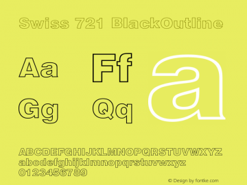 Swiss 721 BlackOutline Version 003.001 Font Sample