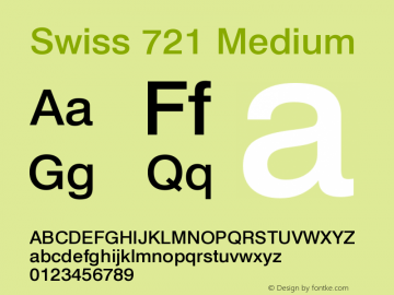 Swiss 721 Medium Version 003.001 Font Sample