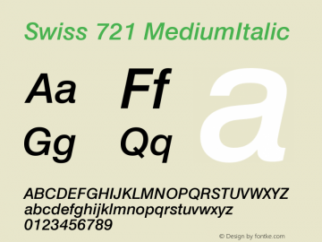 Swiss 721 MediumItalic Version 003.001 Font Sample