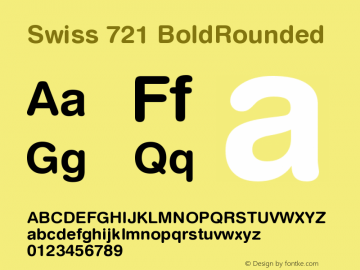 Swiss 721 BoldRounded Version 003.001 Font Sample