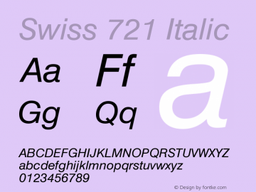 Swiss 721 Italic Version 003.001 Font Sample