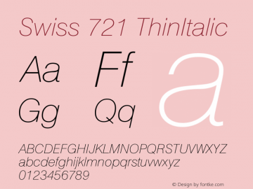 Swiss 721 ThinItalic Version 003.001 Font Sample
