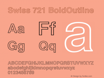 Swiss 721 BoldOutline Version 003.001 Font Sample
