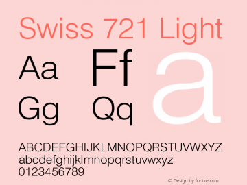 Swiss 721 Light Version 003.001 Font Sample