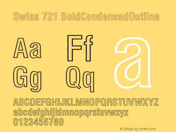 Swiss 721 BoldCondensedOutline Version 003.001 Font Sample