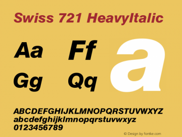 Swiss 721 HeavyItalic Version 003.001 Font Sample