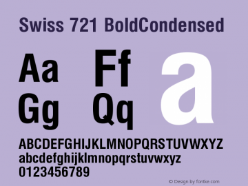 Swiss 721 BoldCondensed Version 003.001 Font Sample