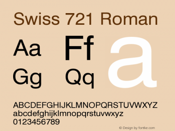 Swiss 721 Roman Version 003.001 Font Sample